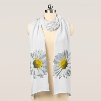 Double White Daisies on White Scarf