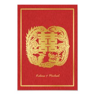Doubles dragon de bonheur/Phoenix chinois RSVP Carton D'invitation 8,89 Cm X 12,70 Cm