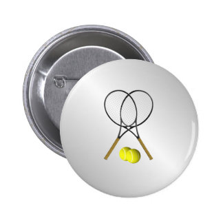 Doubles Tennis Sport Theme Silver 2 Inch Round Button