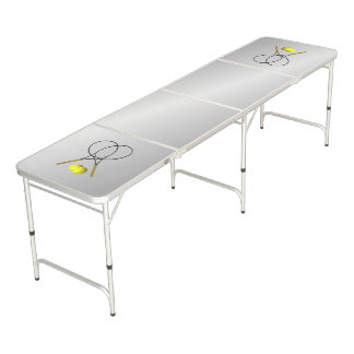Doubles Tennis Sport Theme Silver Beer Pong Table