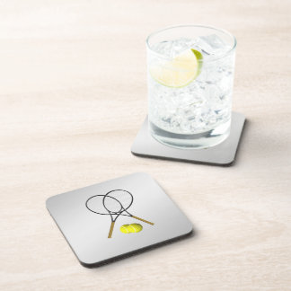 Doubles Tennis Sport Theme Silver Coaster
