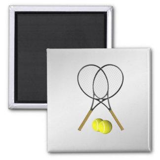 Doubles Tennis Sport Theme Silver Magnet