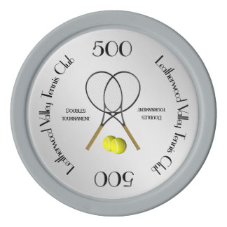 Doubles Tennis Sport Theme Silver Poker Chips