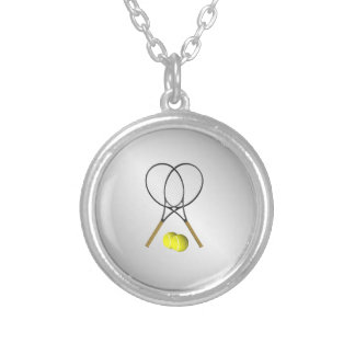 Doubles Tennis Sport Theme Silver Silver Plated Necklace