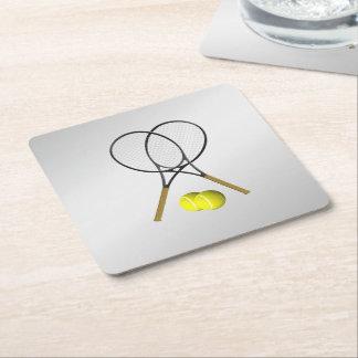 Doubles Tennis Sport Theme Silver Square Paper Coaster