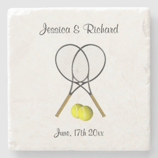 Doubles Through Life Tennis Wedding Coaster