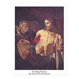 Doubting Thomas By Gerard Van Honthorst Postcard