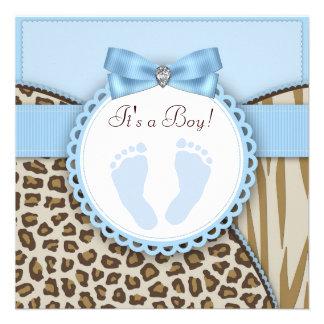 Douche bleue de bébé d empreinte de pas de Brown Invitation Personnalisée