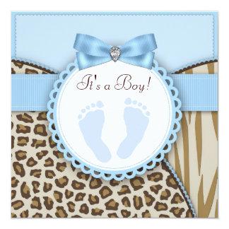 Douche bleue de bébé d'empreinte de pas de Brown Invitation Personnalisée