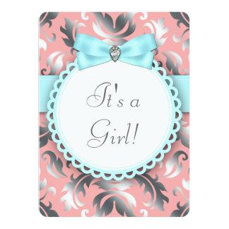 Douche bleue et grise turquoise de corail de bébé invitations personnalisées