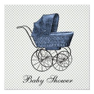 Douche bleue vintage de bébé de landau de chariot carton d'invitation  13,33 cm