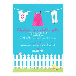 Douche de bébé de corde à linge de jardin invitations