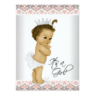Douche de corail et grise de bébé carton d'invitation  13,97 cm x 19,05 cm