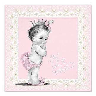 Douche ene ivoire et rose de bébé invitation personnalisable
