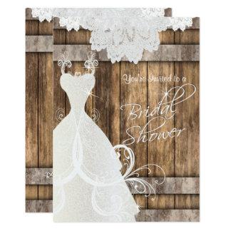 Douche nuptiale dans le bois et la dentelle carton d'invitation  12,7 cm x 17,78 cm