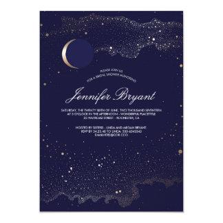 Douche nuptiale de croissant de lune et de marine carton d'invitation  12,7 cm x 17,78 cm