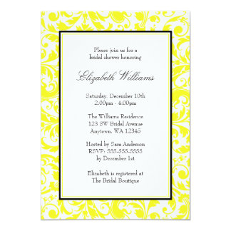 Douche nuptiale de damassé jaune et noire de carton d'invitation  12,7 cm x 17,78 cm