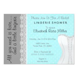 Douche nuptiale de dentelle de lingerie blanche carton d'invitation  12,7 cm x 17,78 cm