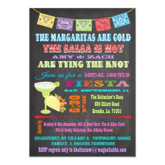 Douche nuptiale de fiesta mexicaine de tableau carton d'invitation  12,7 cm x 17,78 cm