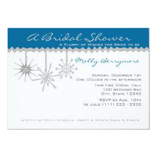 Douche nuptiale de flocon de neige carton d'invitation  12,7 cm x 17,78 cm