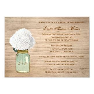 Douche nuptiale de maçon de pays d'hortensia carton d'invitation  12,7 cm x 17,78 cm