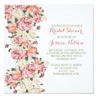 Douche nuptiale de roses roses vintages de jardin carton d'invitation  13,33 cm