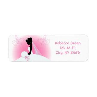 douche nuptiale de silhouette élégante rose étiquette d'adresse retour