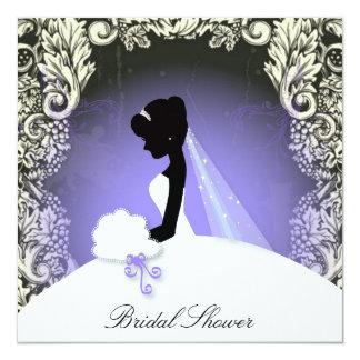douche nuptiale de silhouette florale vintage de carton d'invitation  13,33 cm