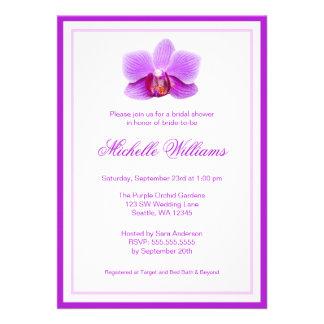 Douche nuptiale d'orchidée pourpre élégante invitation