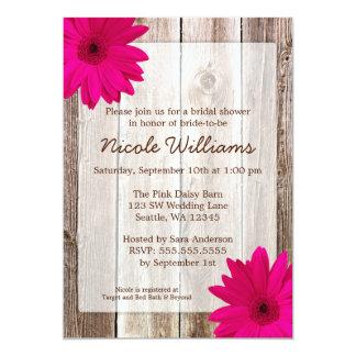 Douche nuptiale en bois de grange rustique rose de carton d'invitation  12,7 cm x 17,78 cm