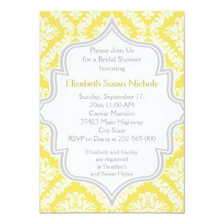 Douche nuptiale jaune citron et grise de mariage carton d'invitation  12,7 cm x 17,78 cm