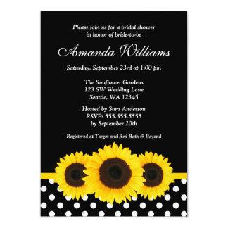 Douche nuptiale noire et blanche de point de polka carton d'invitation  12,7 cm x 17,78 cm