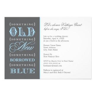 Douche nuptiale quelque chose vieux nouveau bleu carton d'invitation