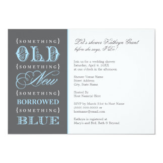 Douche nuptiale | quelque chose vieux nouveau bleu carton d'invitation  12,7 cm x 17,78 cm