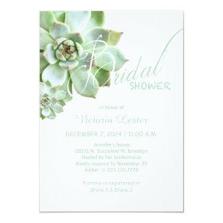 Douche nuptiale succulente fraîche carton d'invitation  12,7 cm x 17,78 cm