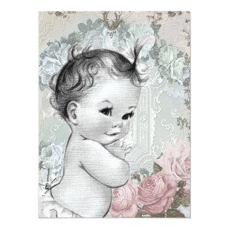 Douche rose et grise vintage de bébé carton d'invitation  13,97 cm x 19,05 cm