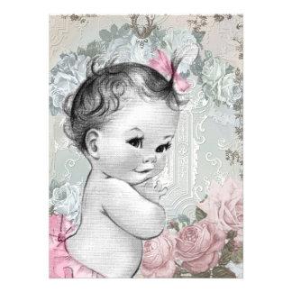 Douche rose et grise vintage de bébé carton d'invitation
