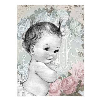 Douche rose et grise vintage de bébé