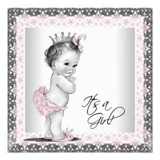 Douche vintage rose et grise de bébé invitations