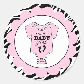 Douche Zèbre-Rose d'Équipement-Bébé de bébé Sticker Rond