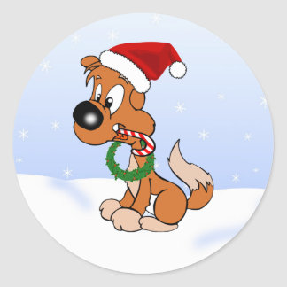Doug the Dog Merry Christmas Cartoon Pooch Round Stickers