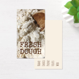 Dough Fresh Flour Doughy Food Wood Spoon Kitchen Business Card
