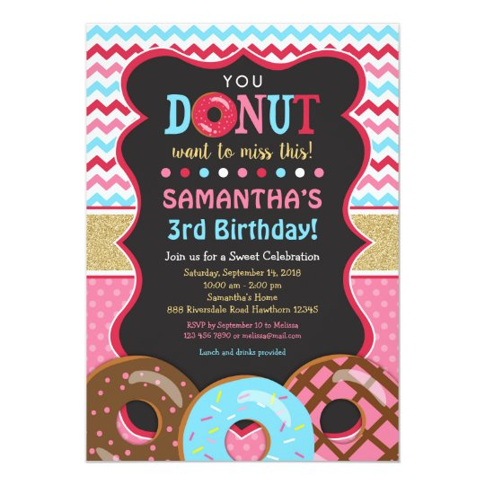 Doughnut Birthday Invitation, Doughnut Invitation
