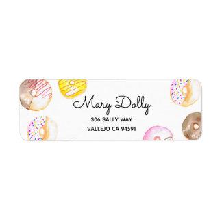 Doughnut birthday kid party return label