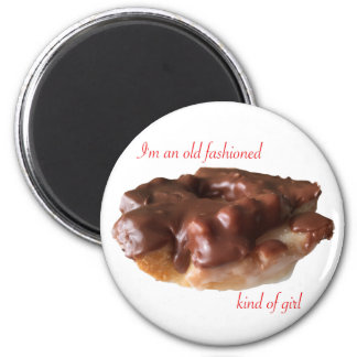 Doughnut Chocolate Old Fashion Girl 2 Inch Round Magnet