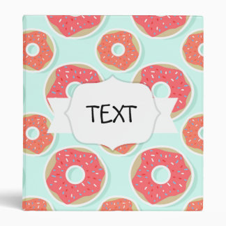 Doughnut Donut Pattern, Pink and Blue 3 Ring Binders