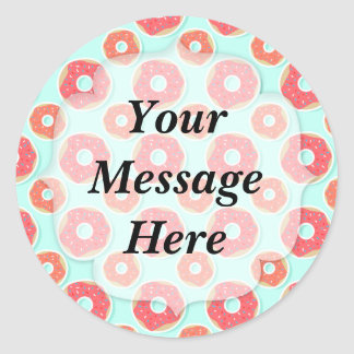 Doughnut Donut Pattern, Pink and Blue Classic Round Sticker