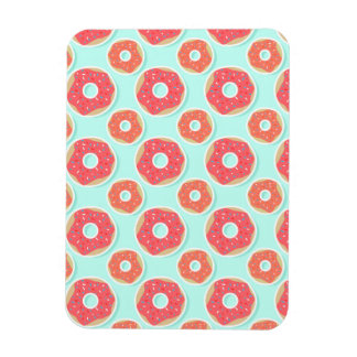 Doughnut Donut Pattern, Pink and Blue Rectangular Photo Magnet