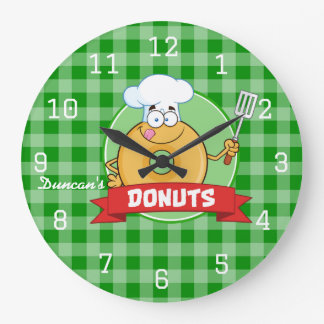 Doughnut Kitchen Chef Green Gingham Large Clock