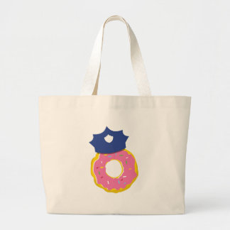 doughnut police officers hat large tote bag